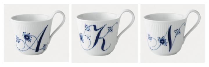 Alphabet mugs, Royal Copenhagen - Atelier Krogbeck